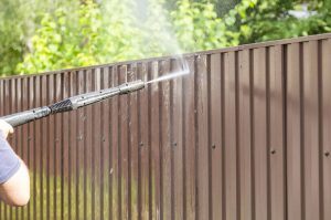 Fence pressure washing in Richardson TX.